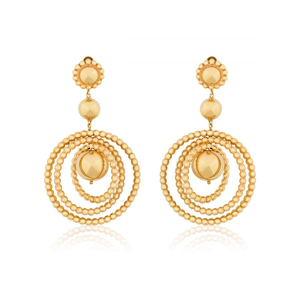 KESSARIS Twisting Rounds Yellow Gold Earrings SKE180673
