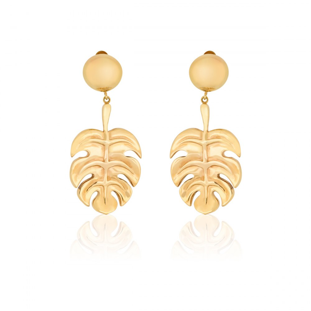 ANASTASIA KESSARIS Gold Hanging Monstera Statement Earrings SKE180989
