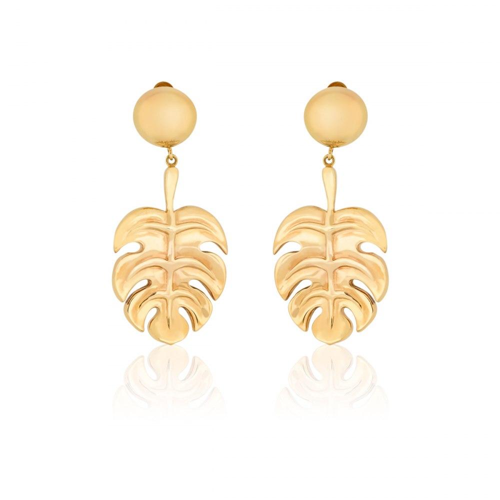 ANASTASIA KESSARIS Gold Hanging Monstera Statement Earrings SKE180989