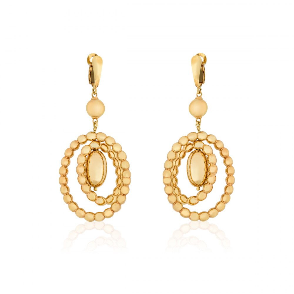 KESSARIS Twisting Rounds Yellow Gold Earrings SKE180679