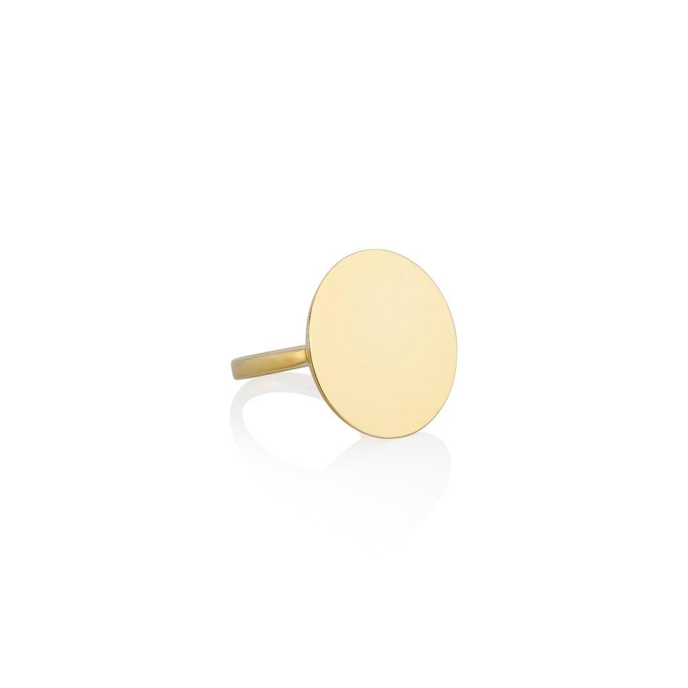KESSARIS Yellow Gold Round Motif Ring DAE32164