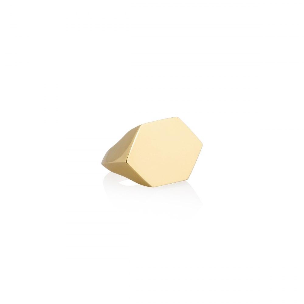 KESSARIS Yellow Gold Hexagonal Parallel Motif Ring DAE32168
