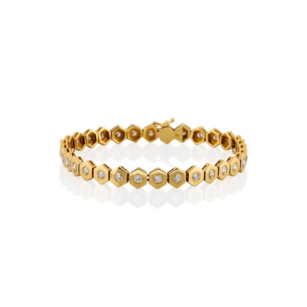 KESSARIS Gold Diamond Bracelet with Hexagonal Motif BRX041688