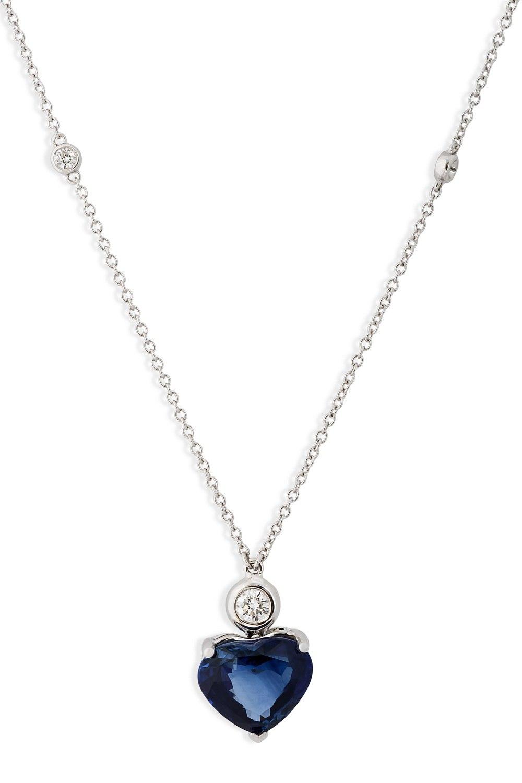 KESSARIS Heart Sapphire Pendant Necklace KOP152466