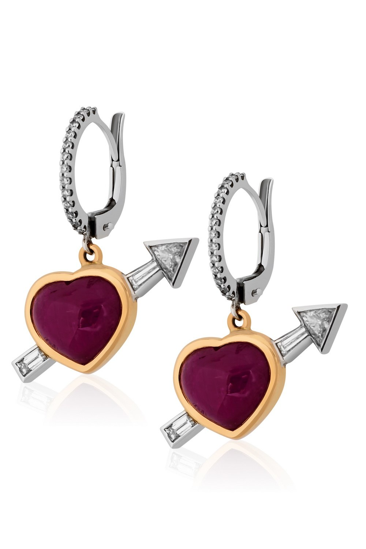 KESSARIS Heart Ruby Earrings M3325