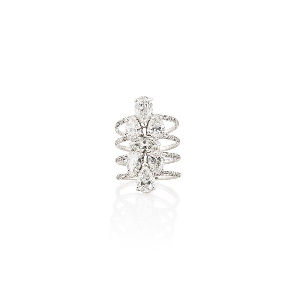 KESSARIS Marquise, Pear & Brilliant Cut Diamond Four Row Ring DAE143167