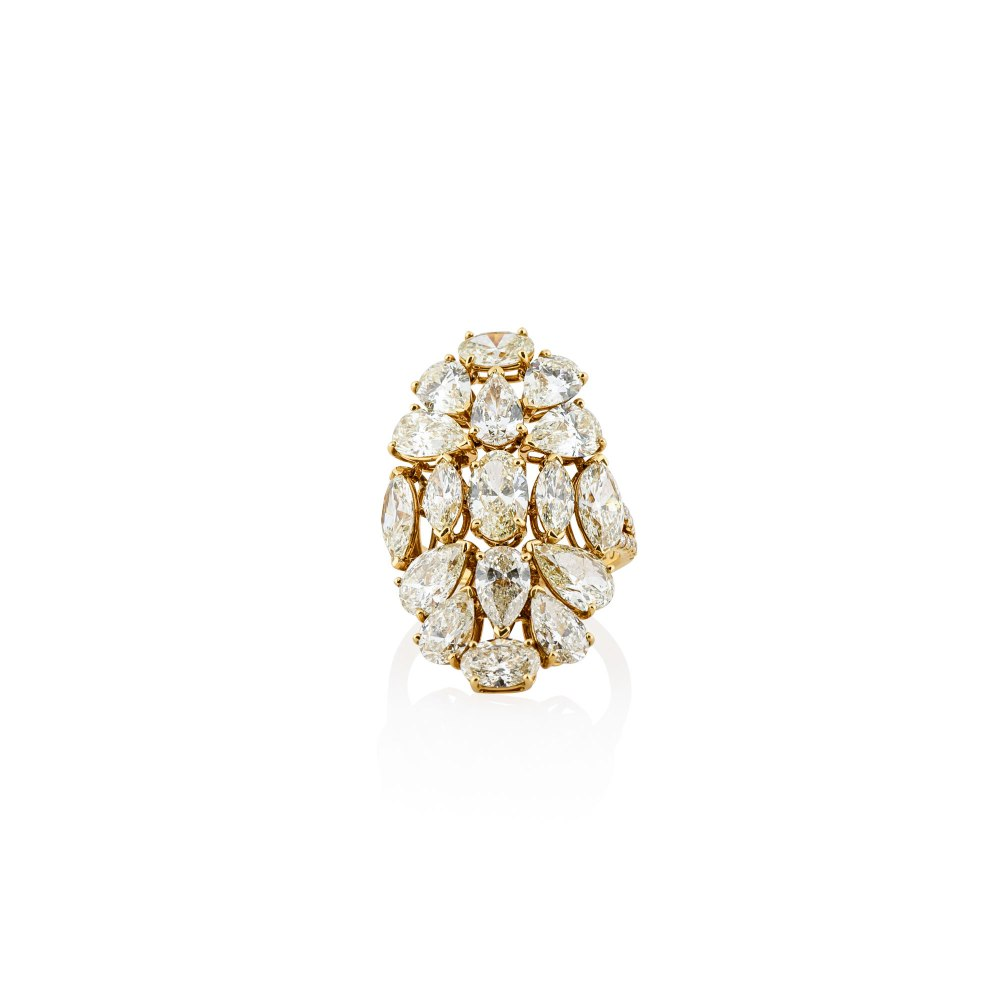 KESSARIS Marquise, Pear and Oval Cut Cluster Yellow Diamond Ring DAP132018
