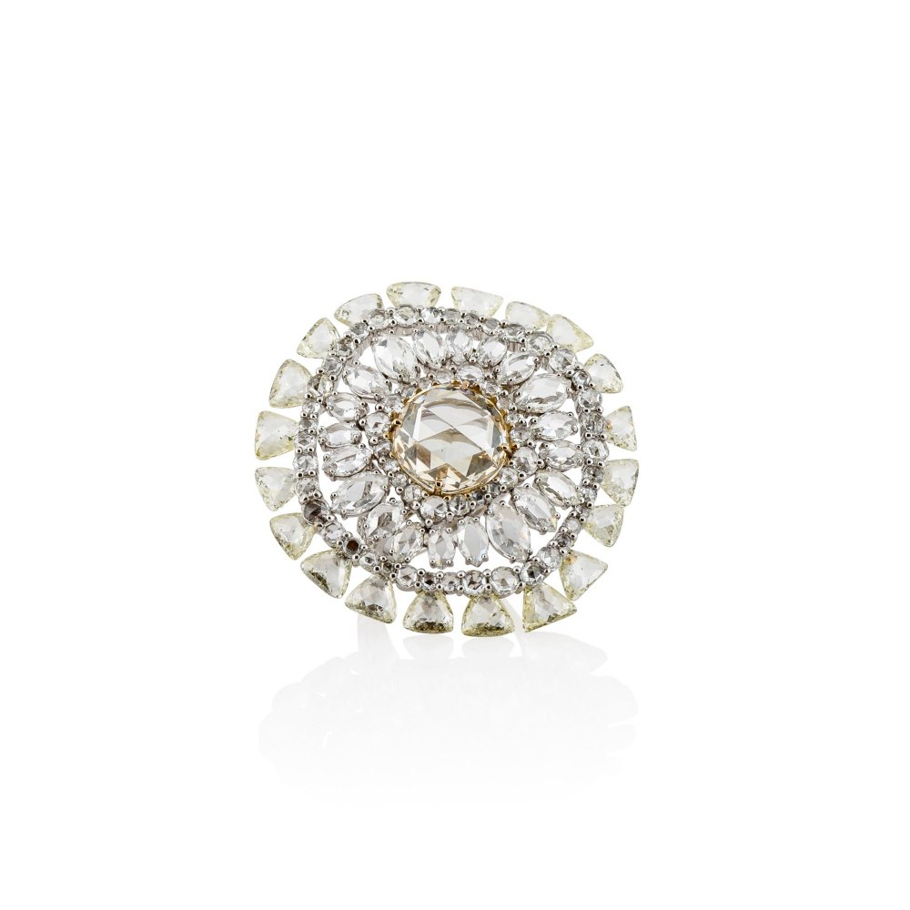 KESSARIS Round Fancy Shape Rose and Brilliant Cut White and Yellow Diamond Ring DAE111603