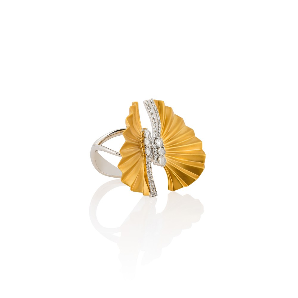 KESSARIS Gold Plisse Double Ring DAE180974