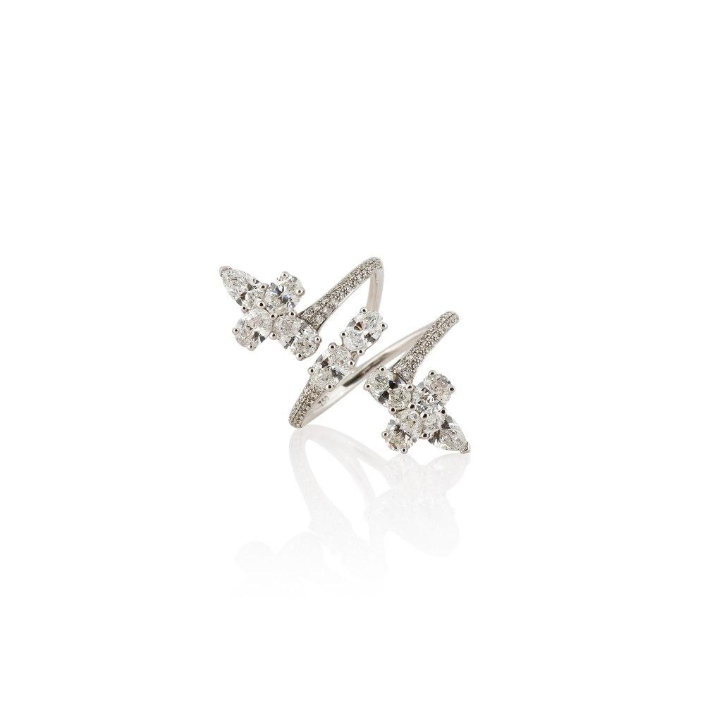 KESSARIS Oval, Pear and Brilliant Cut Diamond Triple Row Ring DAP143158