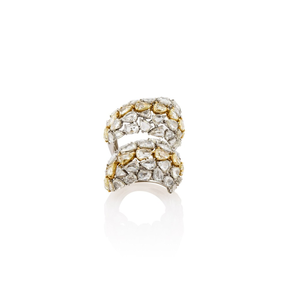 KESSARIS Yellow & White Rose Cut Diamond Double Row Soft Ring DAE131911