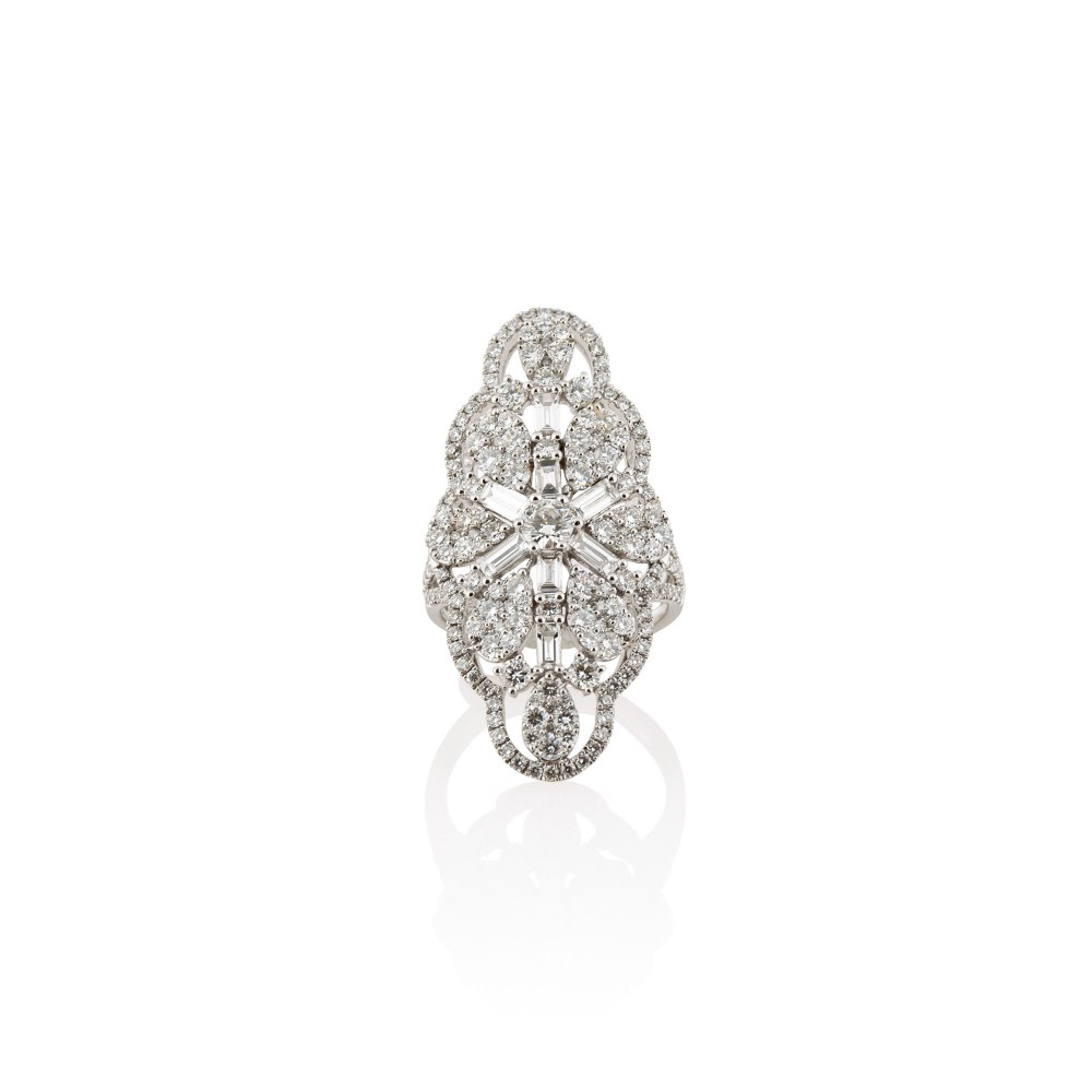 KESSARIS Brilliant and Baguette Cut Cluster Diamond Ring DAE172592