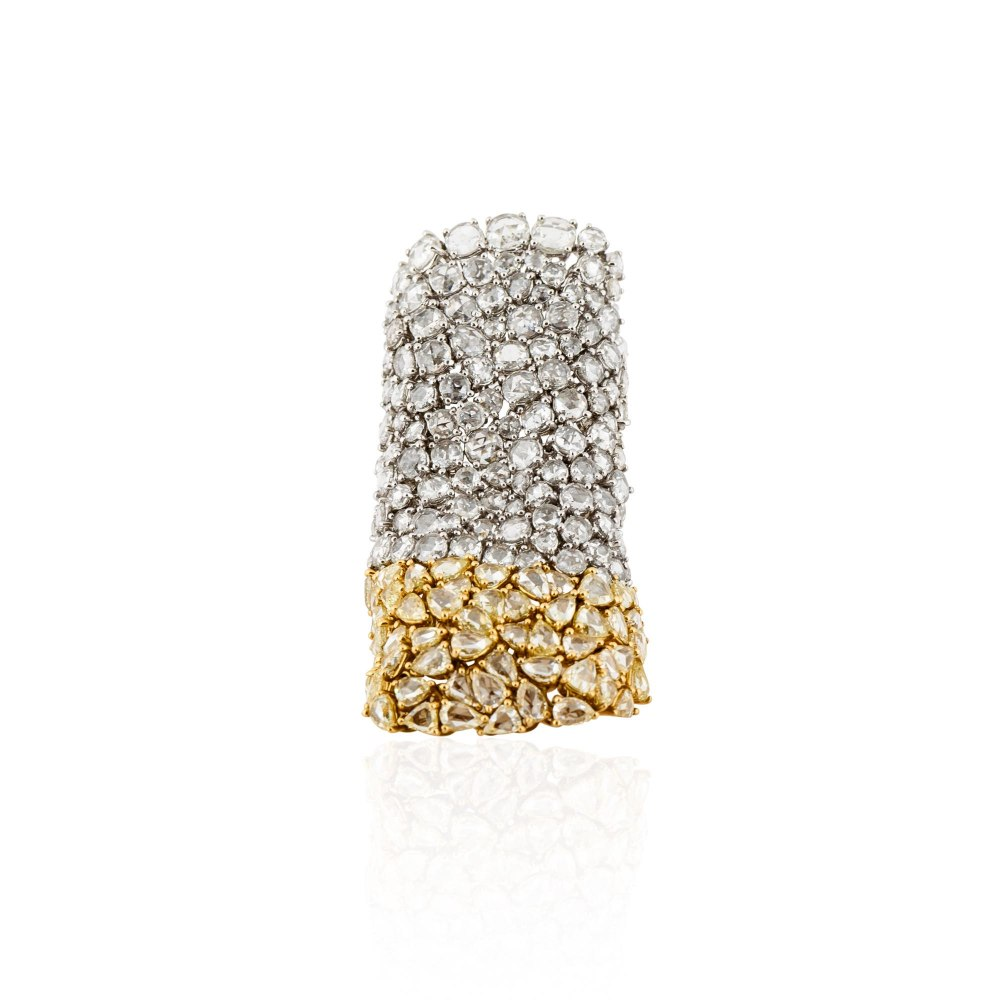 KESSARIS Yellow & White Rose Cut Diamond Soft Ring DAE160989
