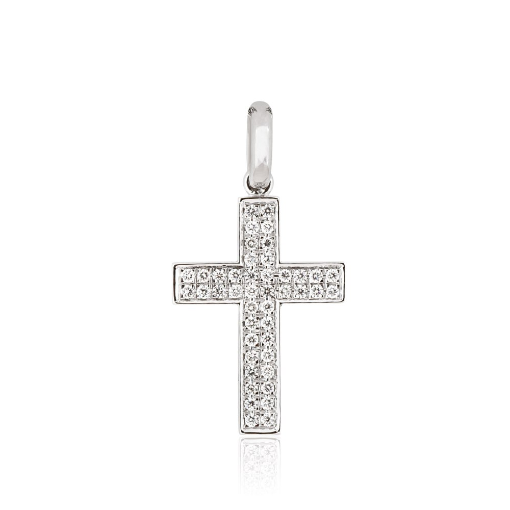 KESSARIS White Gold Diamond Cross Pendant STP170354