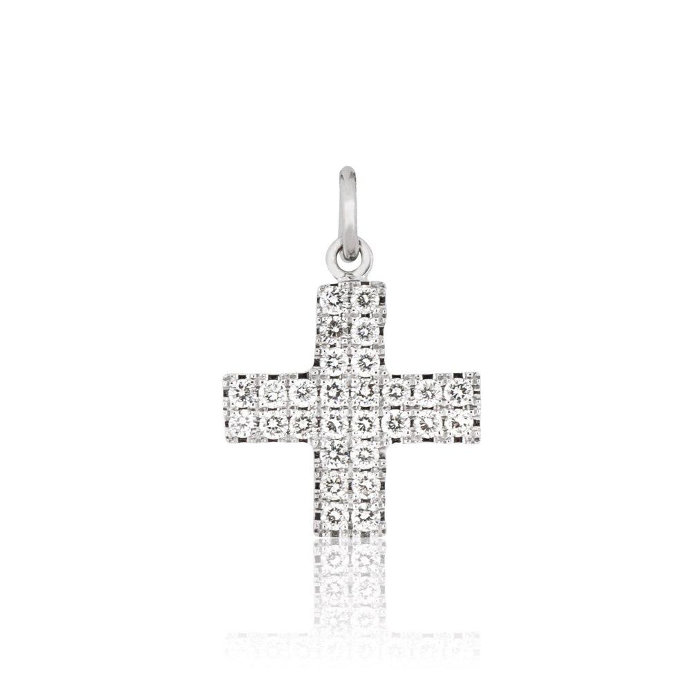 KESSARIS White Gold Diamond Cross Pendant KRP90373