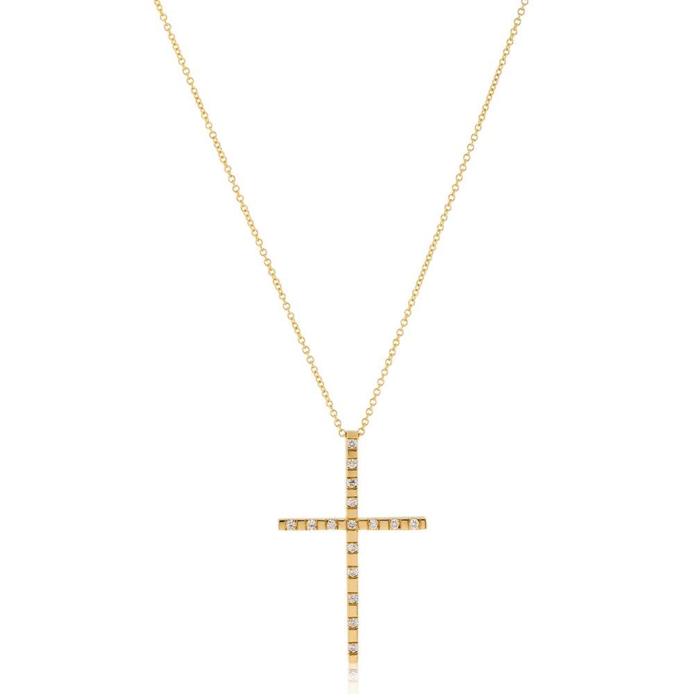 KESSARIS Gold Diamond Cross Pendant KOP180542