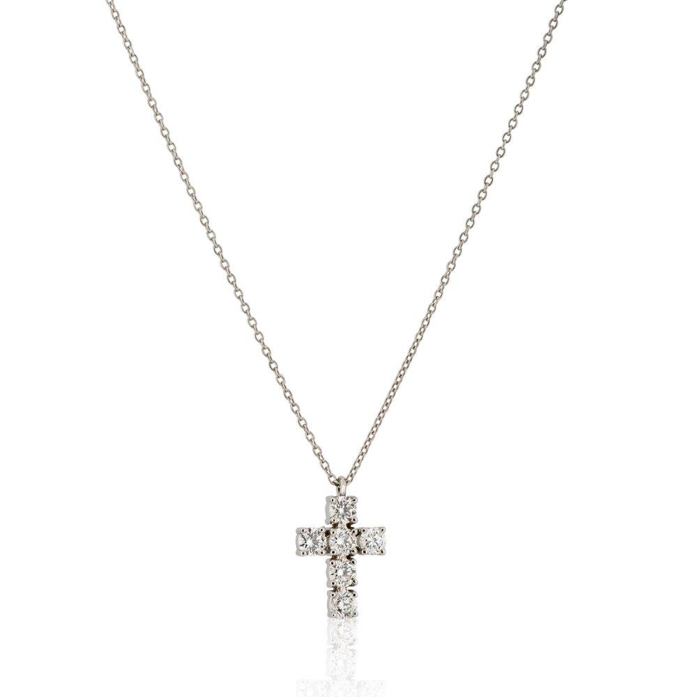 KESSARIS White Gold Diamond Cross Pendant KOE181269