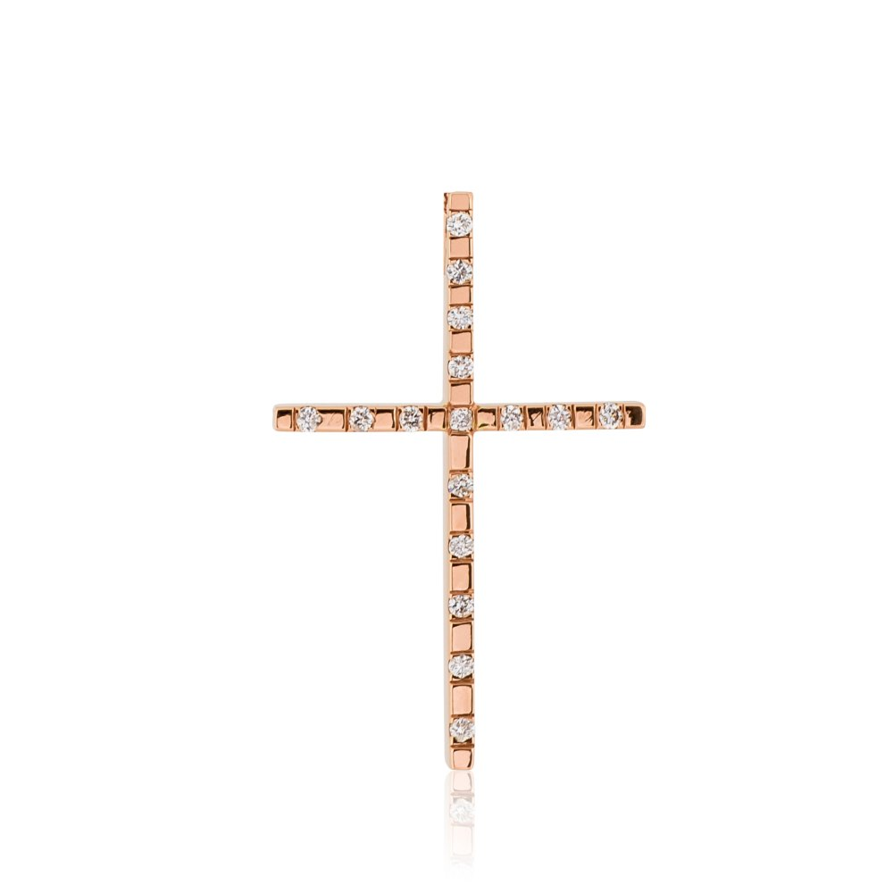 KESSARIS Rose Gold Diamond Cross Pendant KOP180543