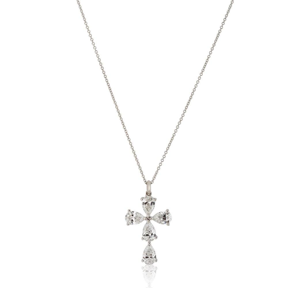 KESSARIS White Gold Diamond Cross Pendant STP151901