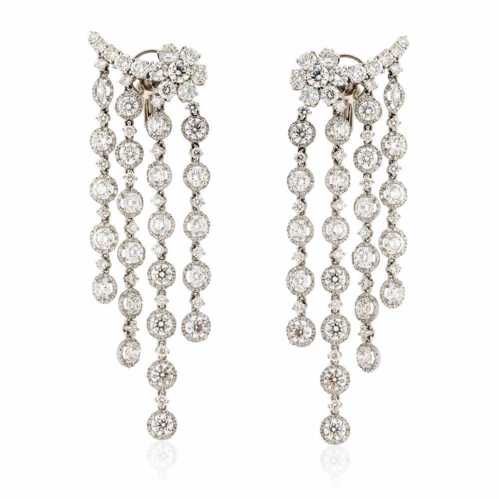 KESSARIS Hanging Rows with Floral Motives Brilliant Cut Earrings SKP66058
