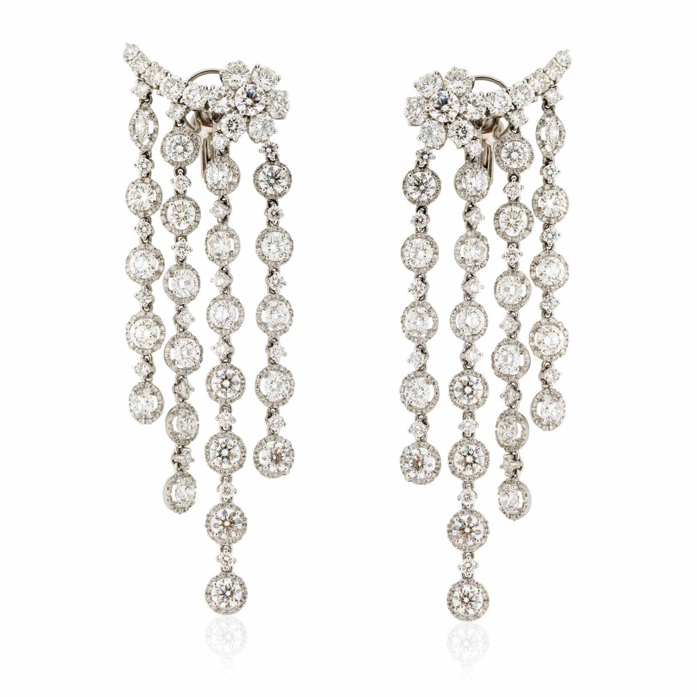 KESSARIS Hanging Rows with Floral Motives Brilliant Cut Earrings SKP66058