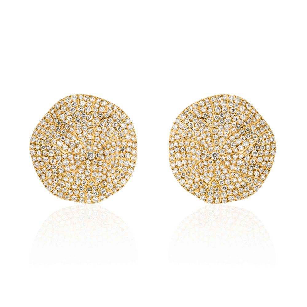KESSARIS Statement Water Lily Leaves Diamond Earrings SKP171779