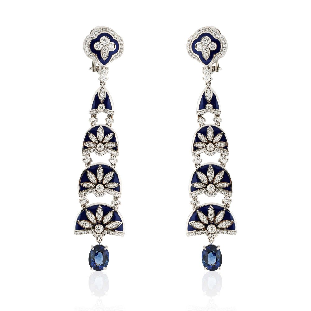 KESSARIS Blue Enamel Ornamented Chandelier Diamond and Sapphire Earrings SKP180967