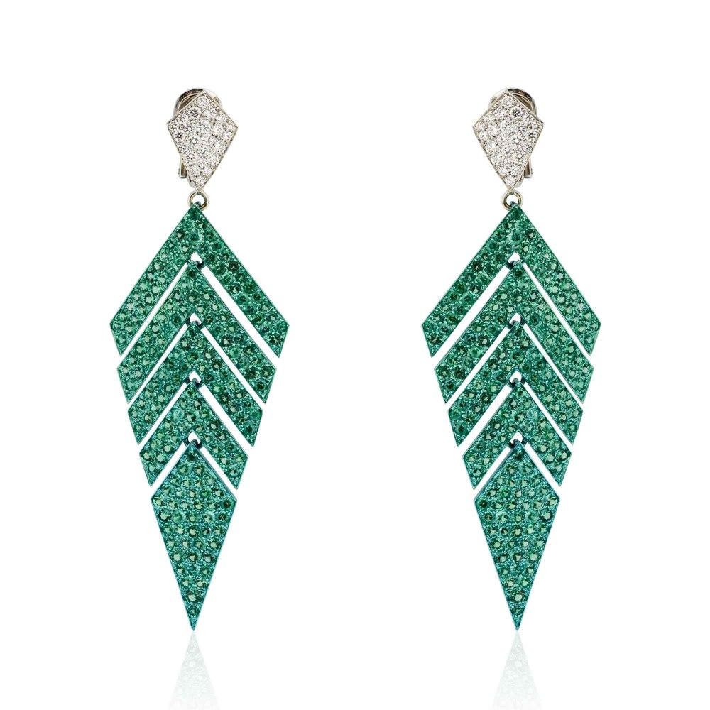 KESSARIS Geometric Emerald Diamond Earrings SKP171602