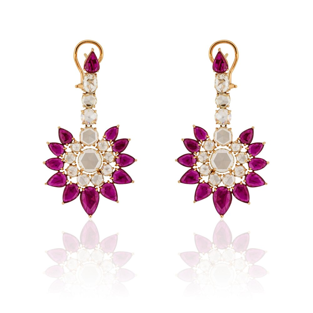 KESSARIS Ruby & Rose Cut Diamond Fan Drop Earrings SKE151648