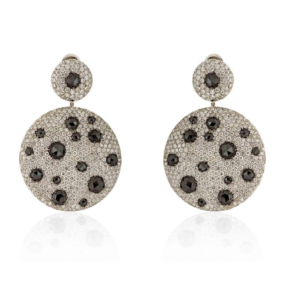 KESSARIS Statement White & Black Diamond Disc Earrings SKE81353