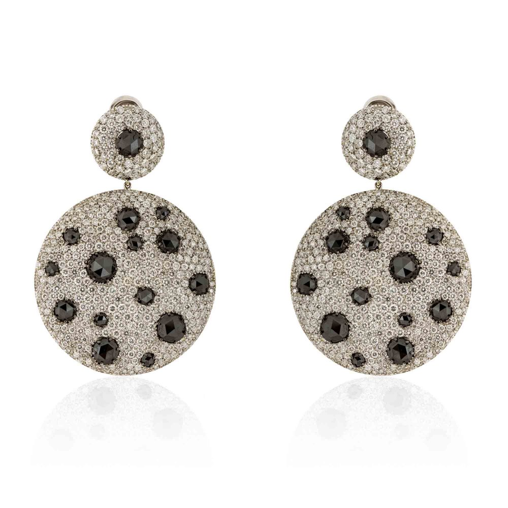 KESSARIS Statement White & Black Diamond Disc Earrings SKE81353