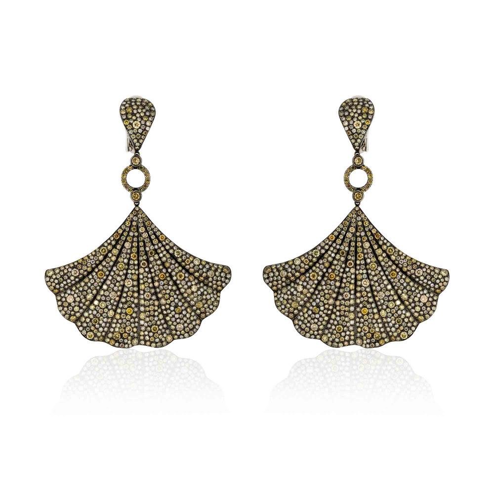 KESSARIS Statement Hanging Brown Diamond Earrings SKP172414