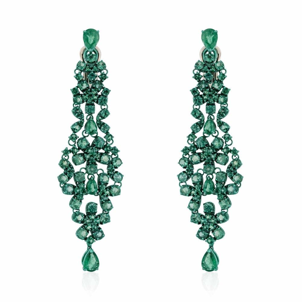KESSARIS Emerald Luster Staurino Earrings SKE181370