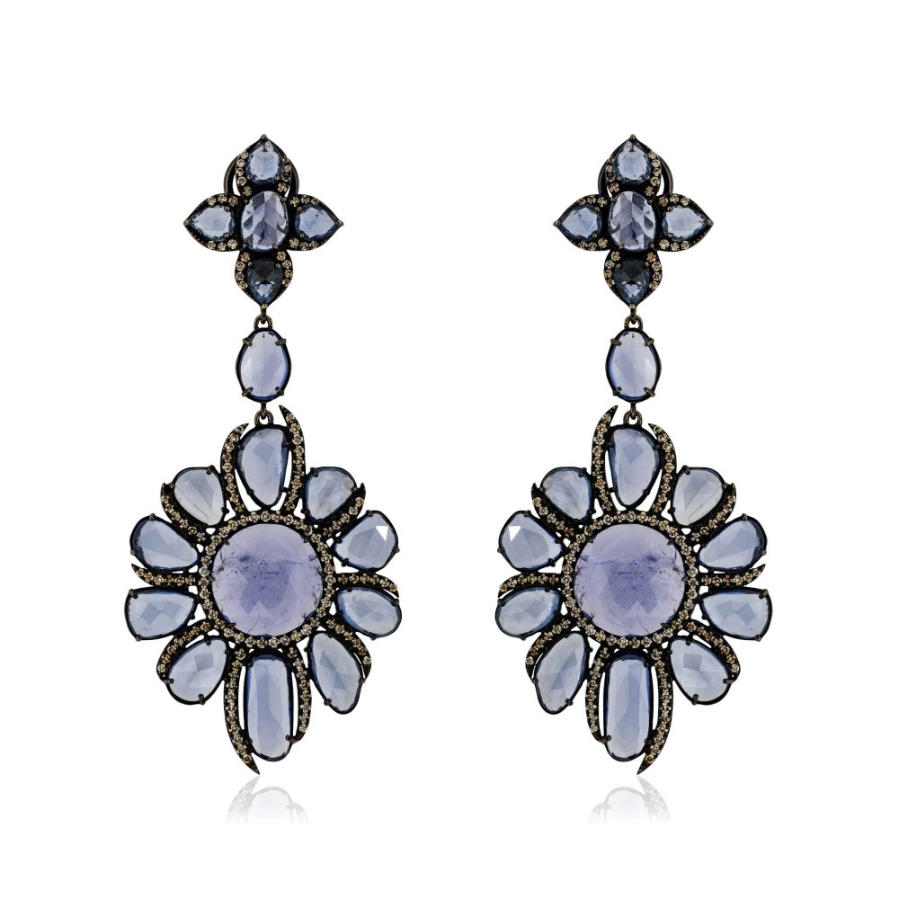 KESSARIS Fancy Shape Rose Cut Sapphire Earrings SKE181162