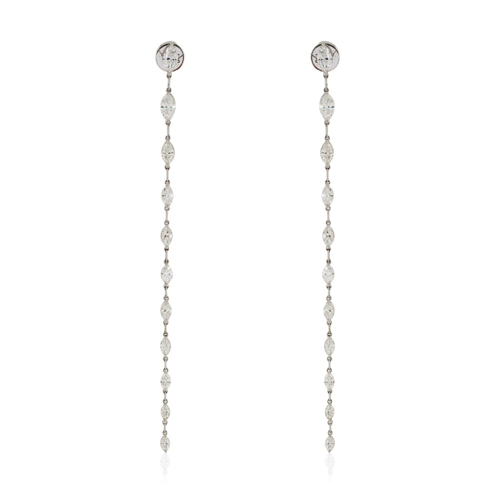 KESSARIS Marquise Diamond Hanging Row Earrings M3551