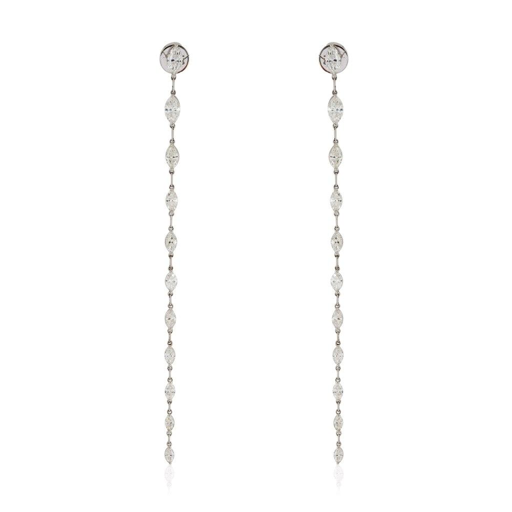 KESSARIS Marquise Diamond Hanging Row Earrings M3551
