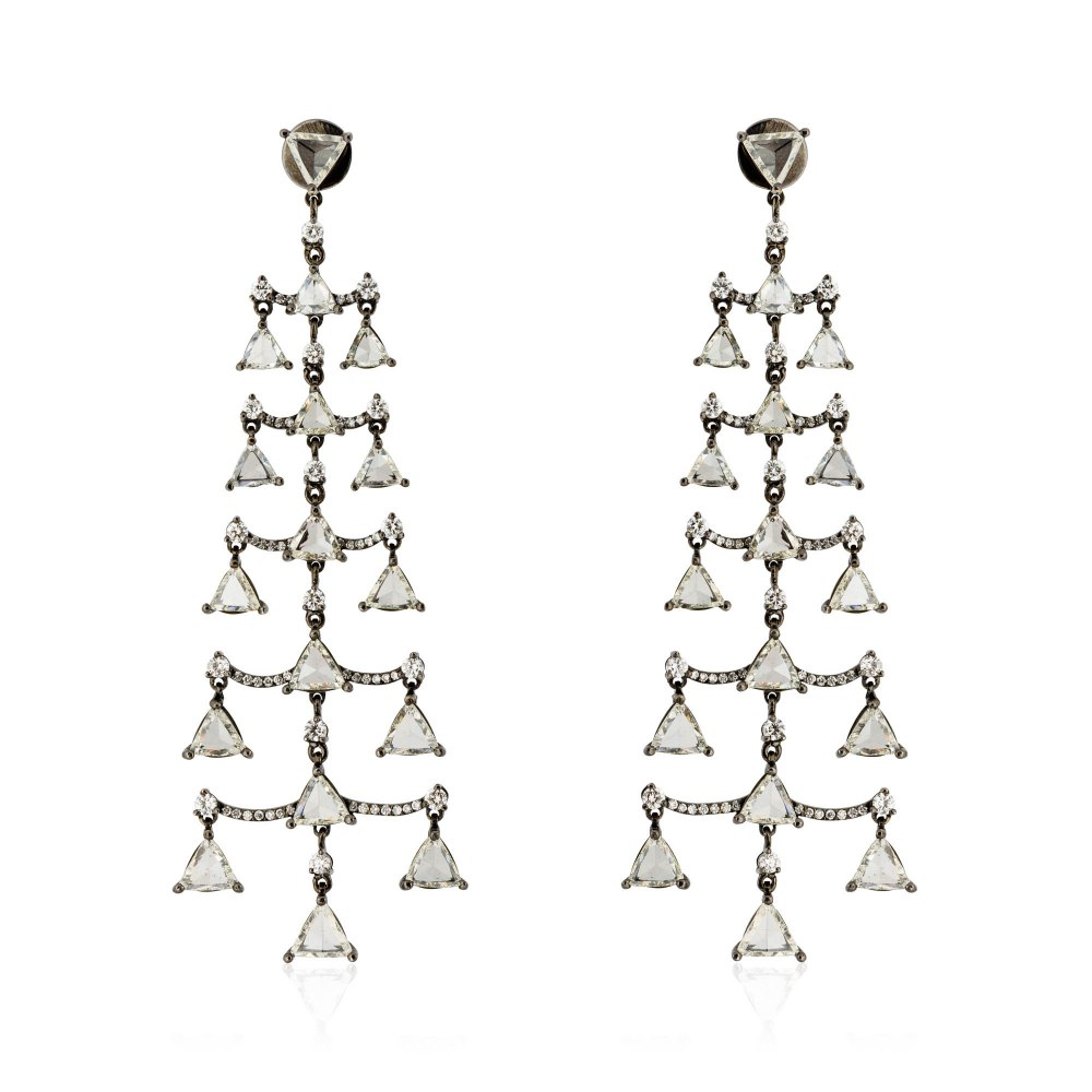 KESSARIS Triangle Rose Cut & Brilliant Diamond Pyramid Earrings SKP171005