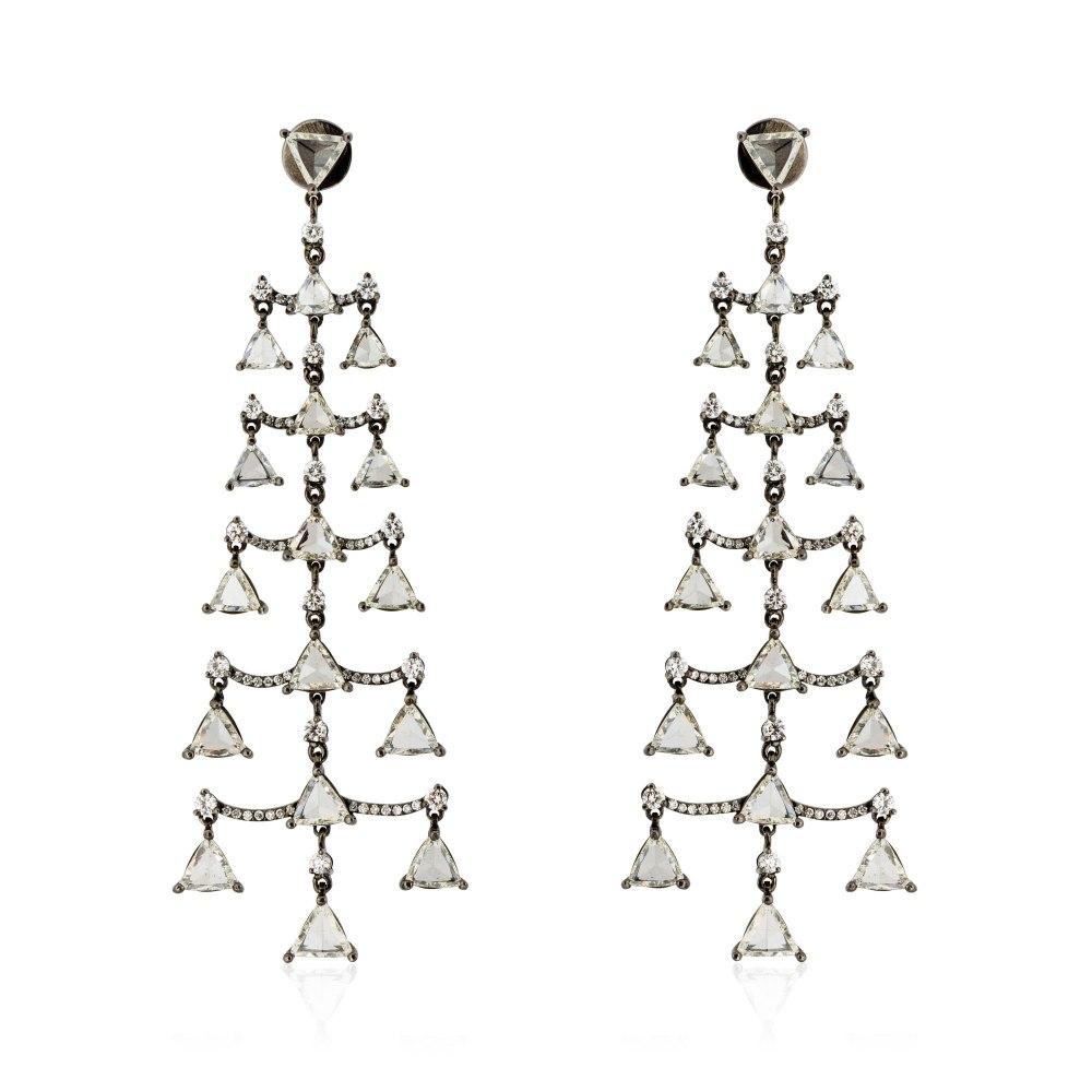 KESSARIS Triangle Rose Cut & Brilliant Diamond Pyramid Earrings SKP171005