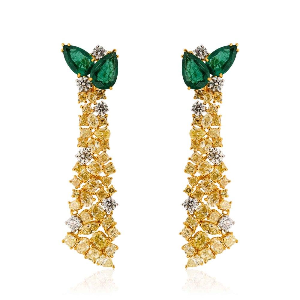 KESSARIS Emerald Yellow and White Diamond Earrings SKE181360