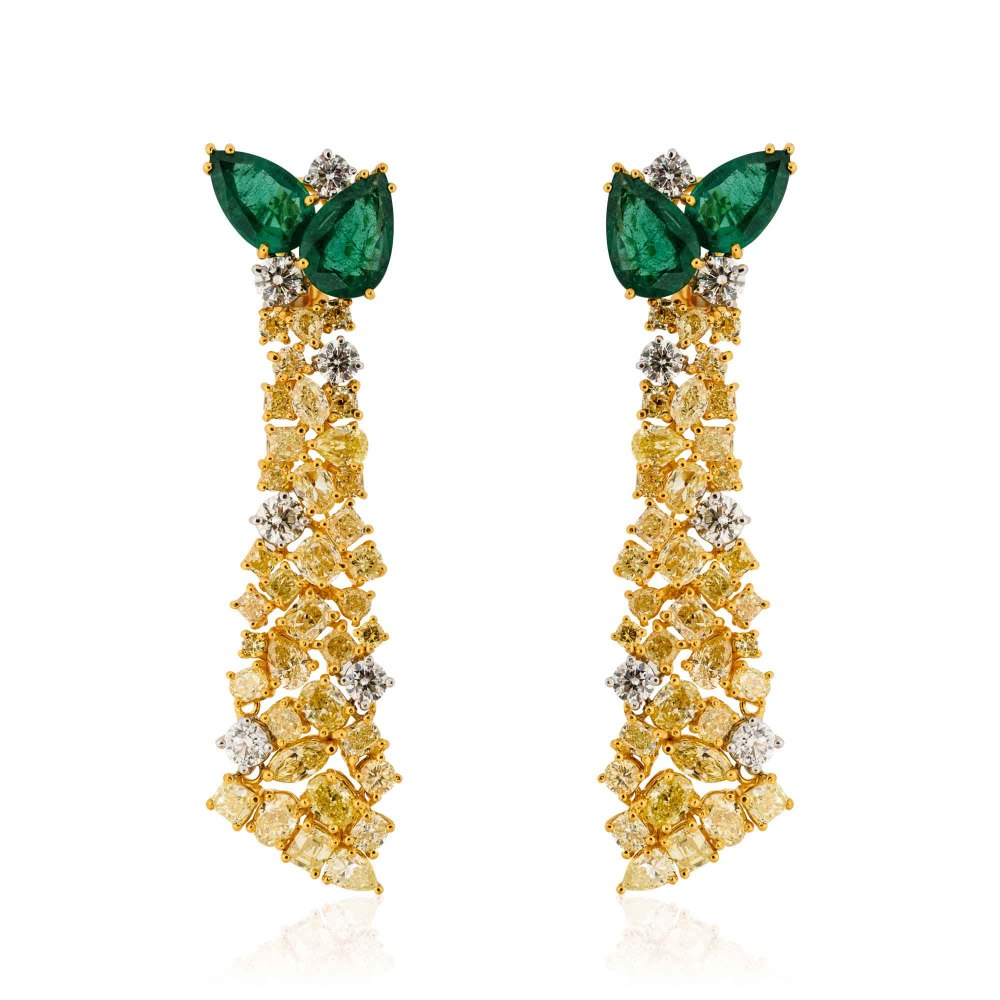 KESSARIS Emerald Yellow and White Diamond Earrings SKE181360