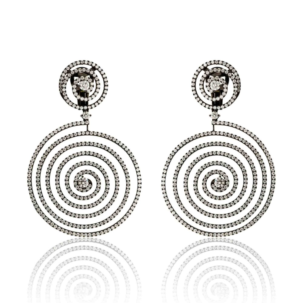 KESSARIS Hanging Spiral Diamond Earrings SKP181104