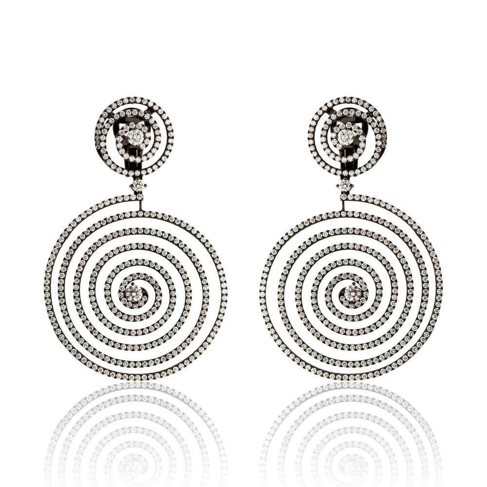 KESSARIS Hanging Spiral Diamond Earrings SKP181104