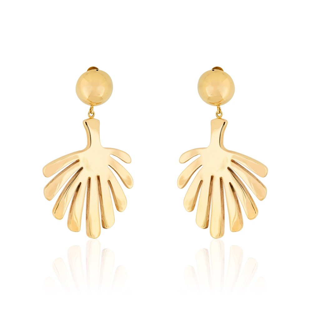 ANASTASIA KESSARIS Statement Gold Tropical Hanging Earrings SKE180988