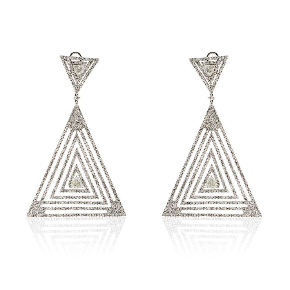 KESSARIS Statement Geometrical Triangle Diamond Earrings SKP171004