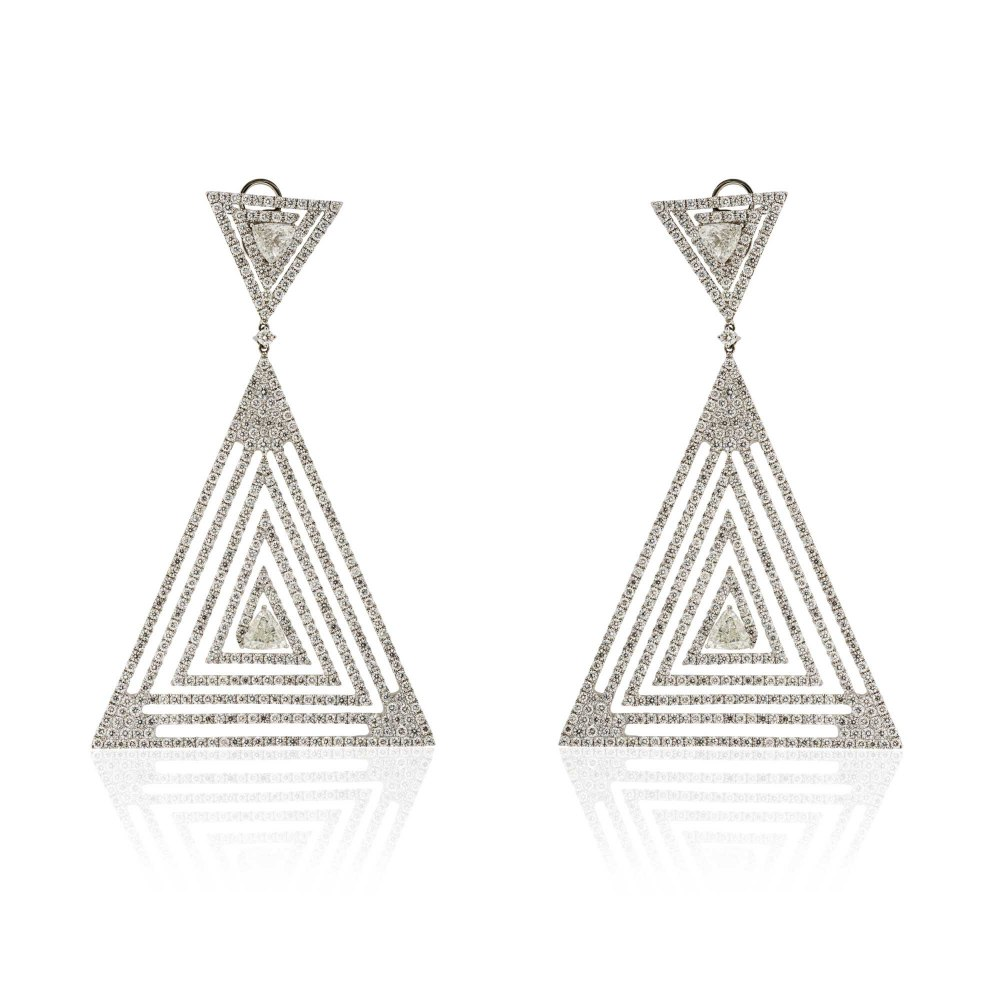 KESSARIS Statement Geometrical Triangle Diamond Earrings SKP171004