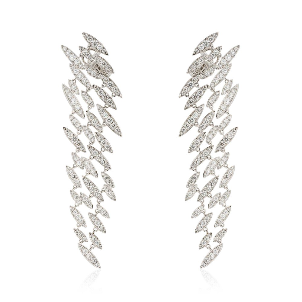 KESSARIS Hanging Elliptical Motives Full Pave Diamond Earrings SKP171758