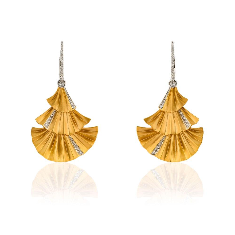 KESSARIS Gold Plisse Three Tier Earrings SKE180979