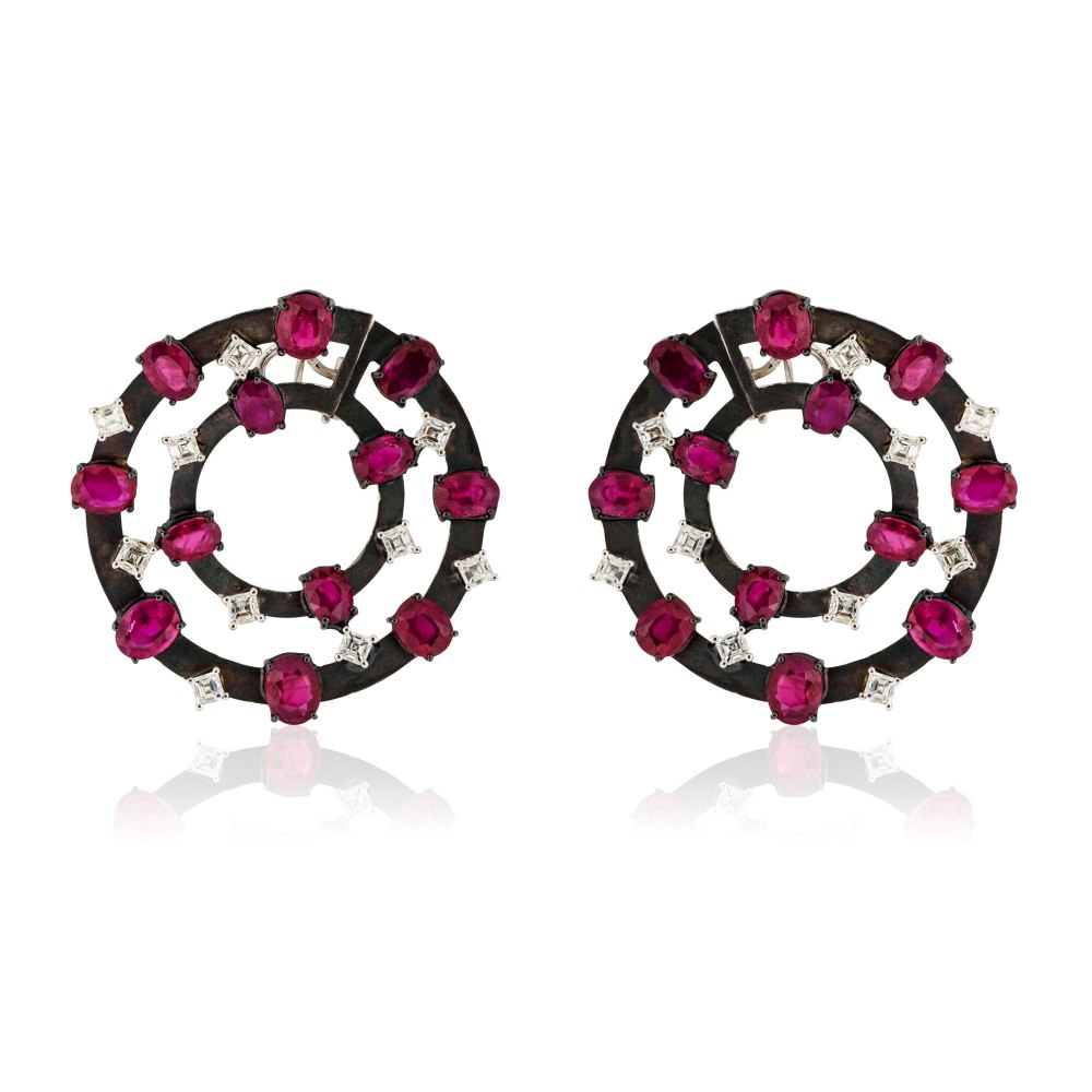 KESSARIS Ruby & Diamond Double Hoop Earrings SKP170775