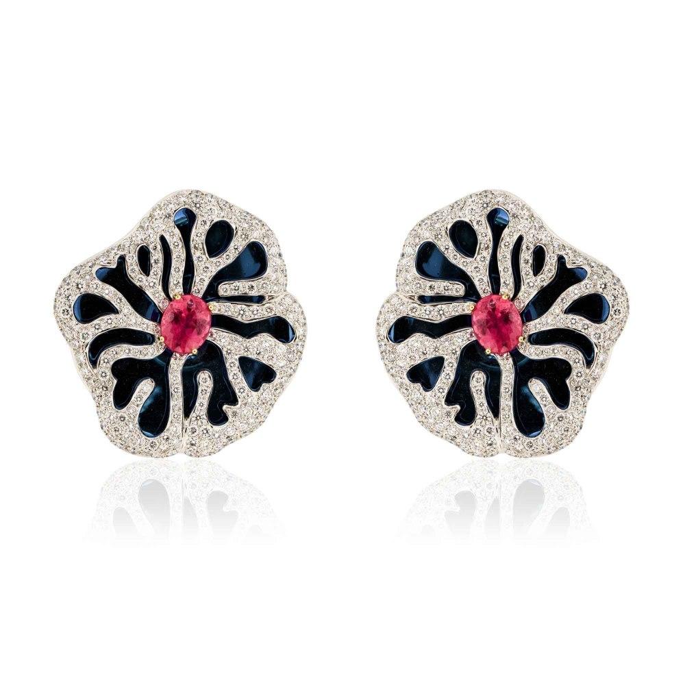 KESSARIS Statement Water Lilly Diamond & Tourmaline Earrings SKP172415