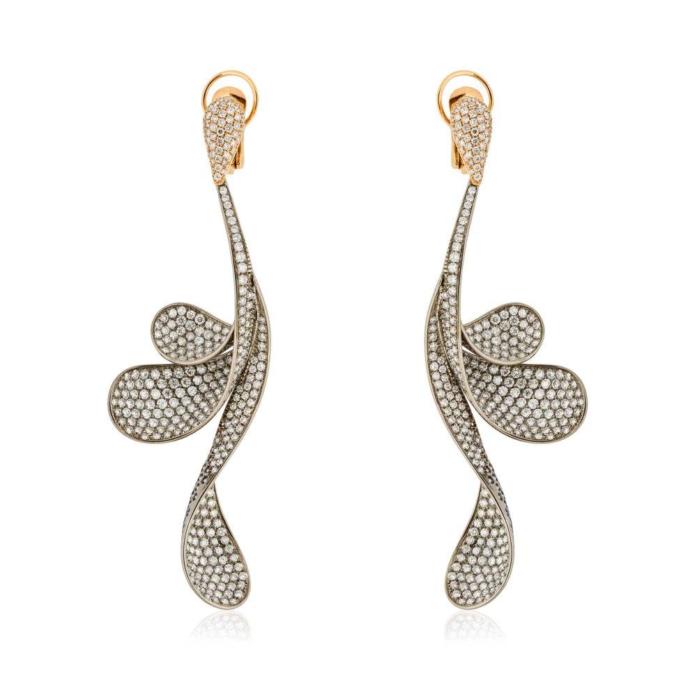 KESSARIS Hanging Wavy Petals Full Pave Diamond Earrings